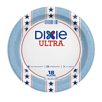 """Dixie Ultra Stars Stripes Disposable Plates - 10"""" - 18ct"""