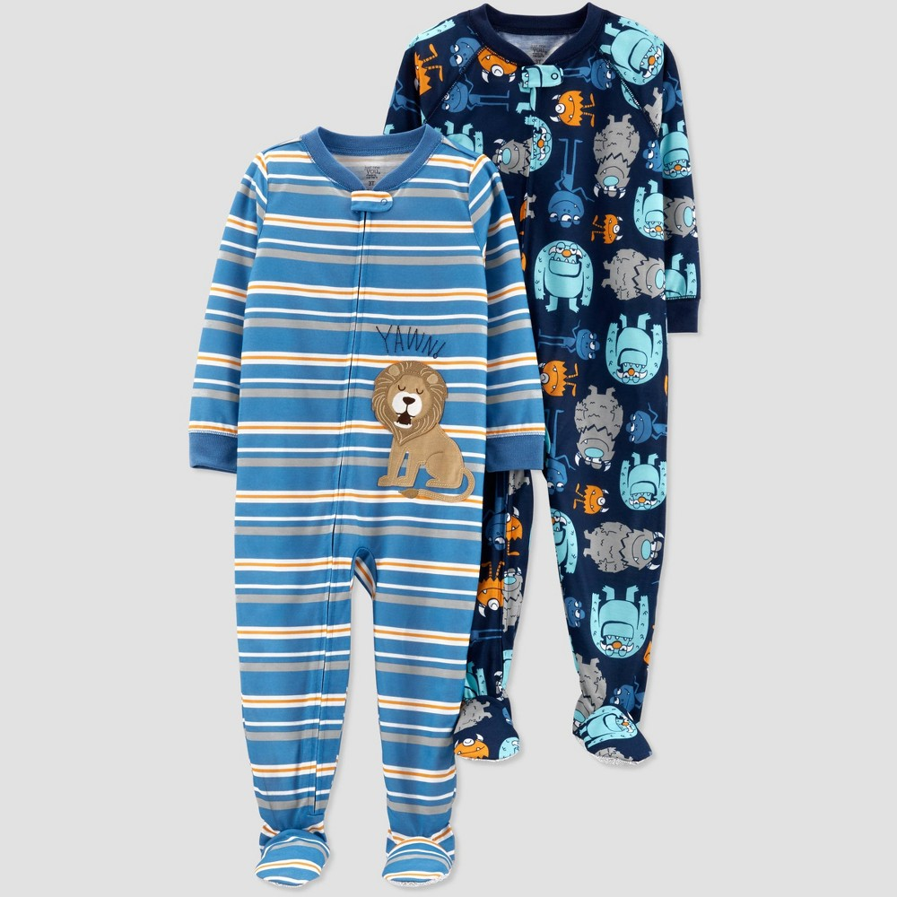 Baby Boys' Stripe Lion Monster Poly Footed Sleepers - Just One You made by carter's Blue 12M