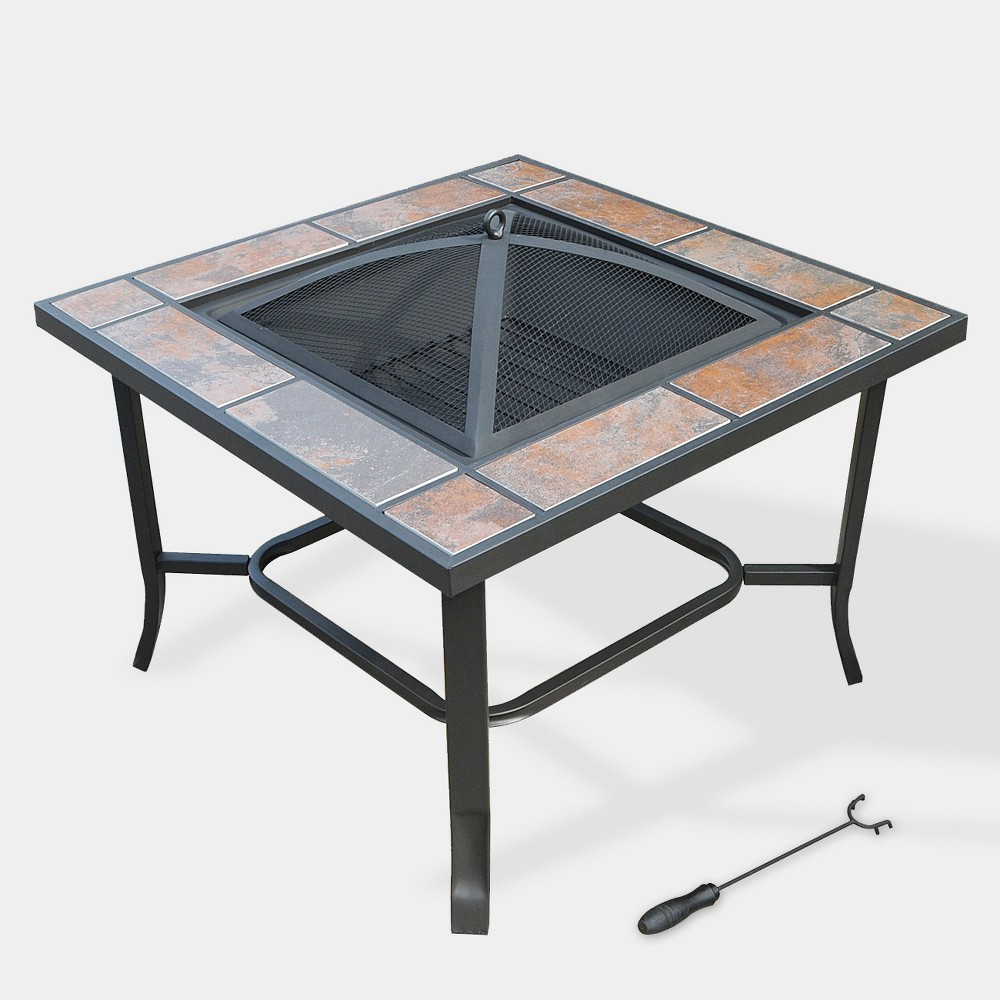 Image of 3-in-1 Square Fire Pit - Bronze - Leisurelife, Brownish Brown