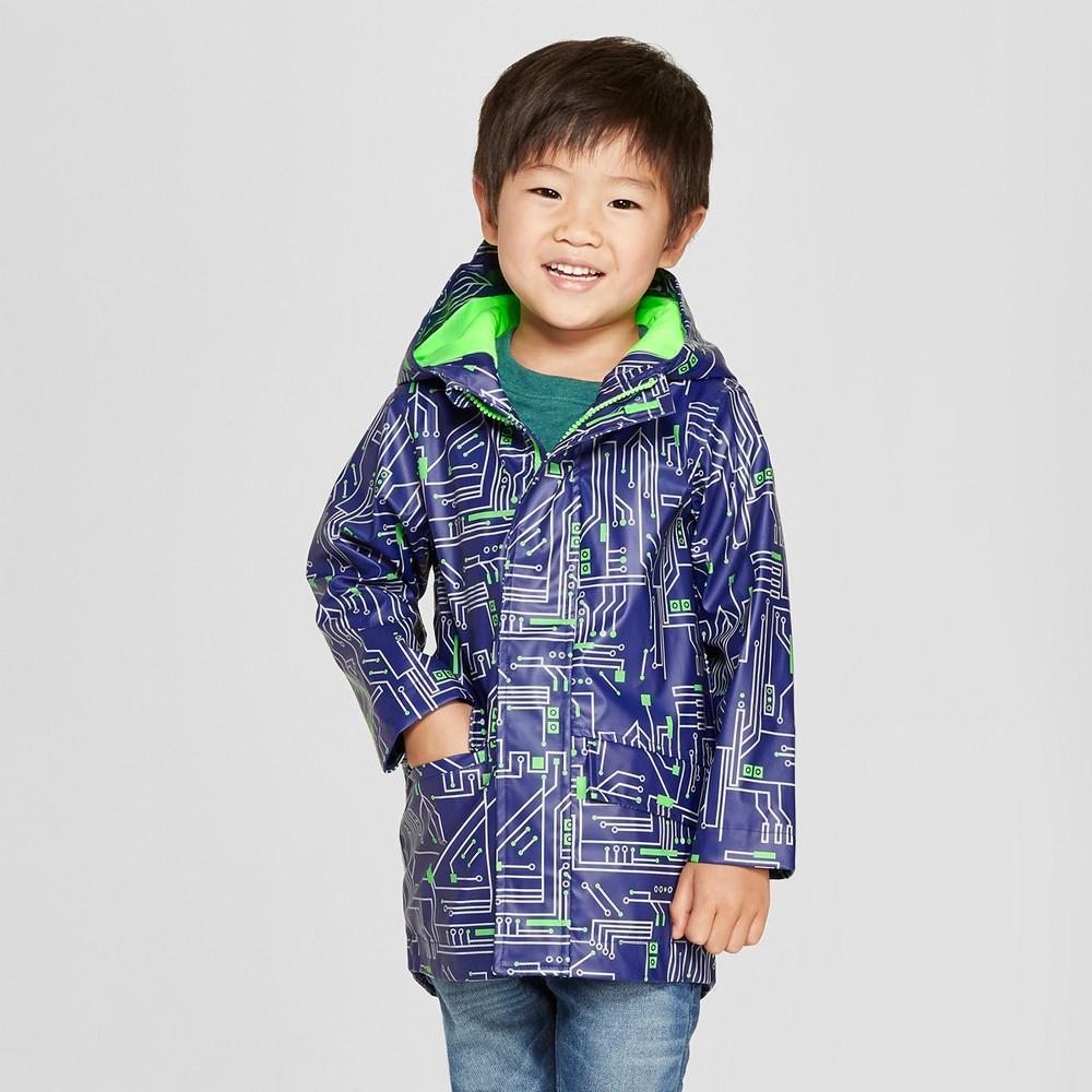 Toddler Boys' Dream Stripe Rain Jacket - Cat & Jack Blue 7