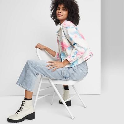 Women's Denim Cropped Jacket - Wild Fable™ Blue/Pink Tie-Dye
