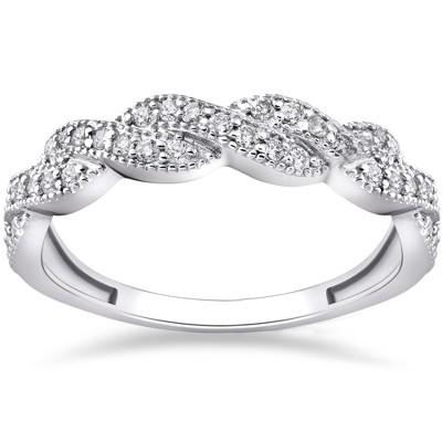 Pompeii3 1/3 ct Diamond Infinity Vintage Wedding Ring 14K White Gold Lab Created - Size 7.5