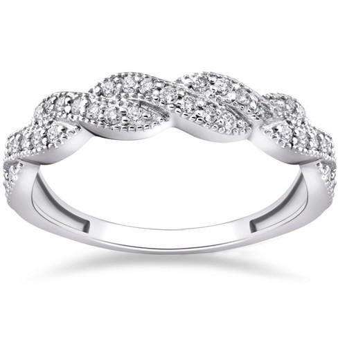 Pompeii3 1/3 ct Diamond Infinity Vintage Wedding Ring 14K White Gold Lab Created - image 1 of 4