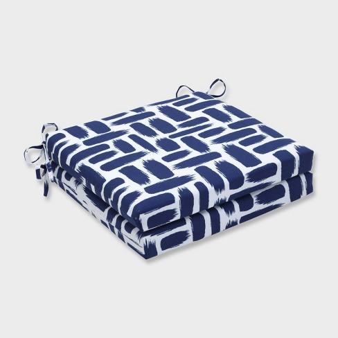 "20"" x 20"" x 3"" 2pk Baja Nautical Squared Corners Outdoor Seat Cushions Blue - Pillow Perfect - image 1 of 1"