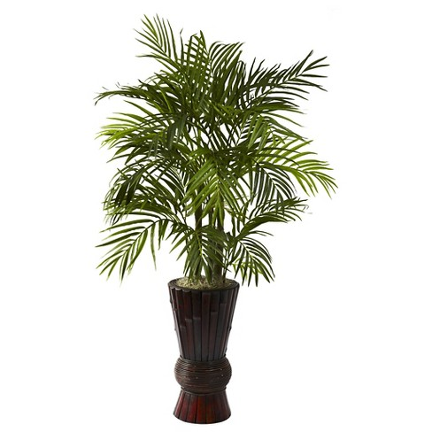 """Nearly Natural Areca with Bamboo Planter (4"""") - image 1 of 3"""