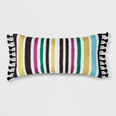 Outdoor Striped Throw Pillow with Tassels - Opalhouse™