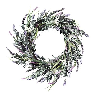 Haute Decor 24 Inch Indoor Outdoor Spring Floral Mix Natural Grapevine Wreath with Lavender and Leaves with Hanging Loop, Multicolor