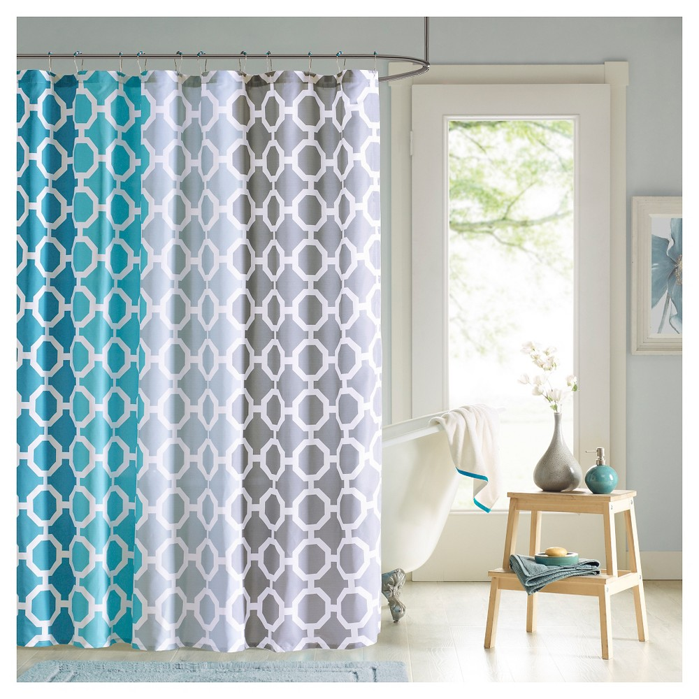 """Image of """"72X72"""""""" Shower Curtain And Hook Set Teal"""""""