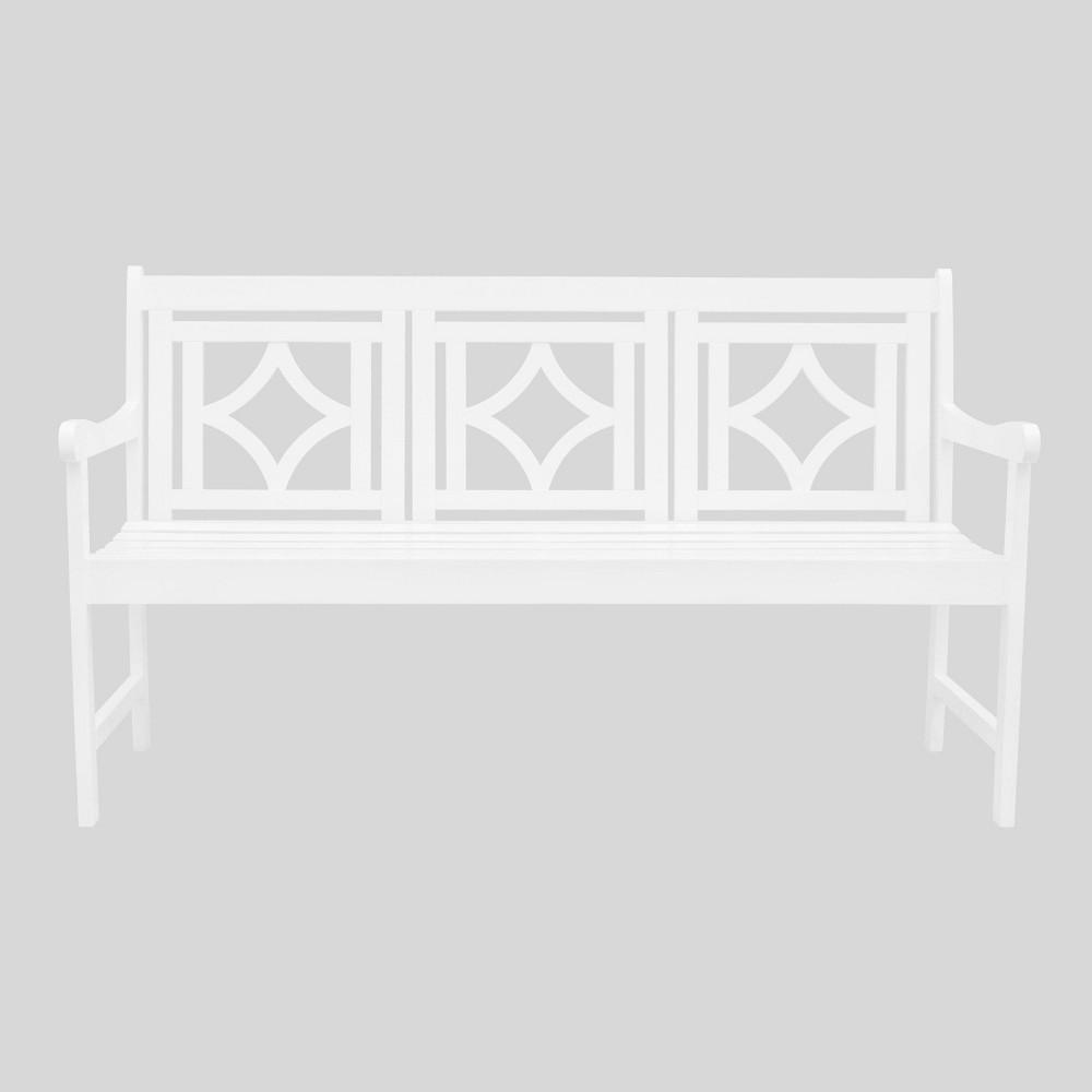 Low Price Bradley Diamond Outdoor Patio Bench White Vifah