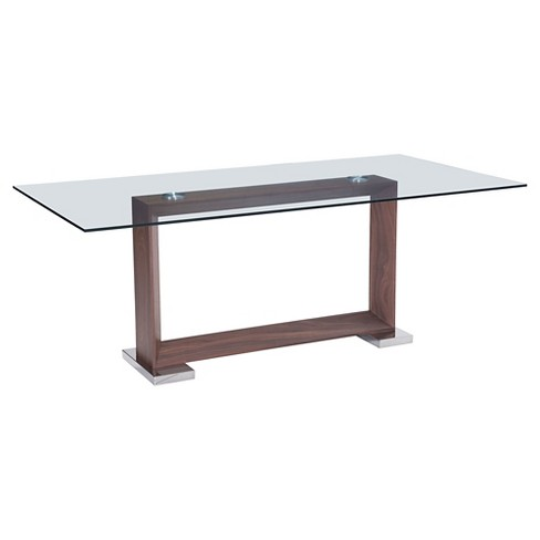 "Modern 79"" Rectangular Tempered Glass and Polished Stainless Steel Dining Table - Walnut - ZM Home - image 1 of 4"