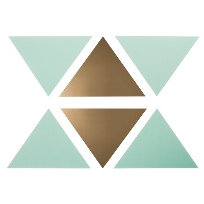 Wall Decal Triangles 16pc - Cloud Island™ Mint/Gold