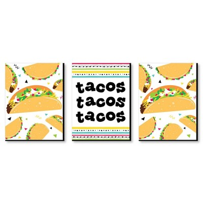 Big Dot of Happiness Taco 'Bout Fun - Kitchen Wall Art and Mexican Restaurant Decor Ideas - 7.5 x 10 inches - Set of 3 Prints
