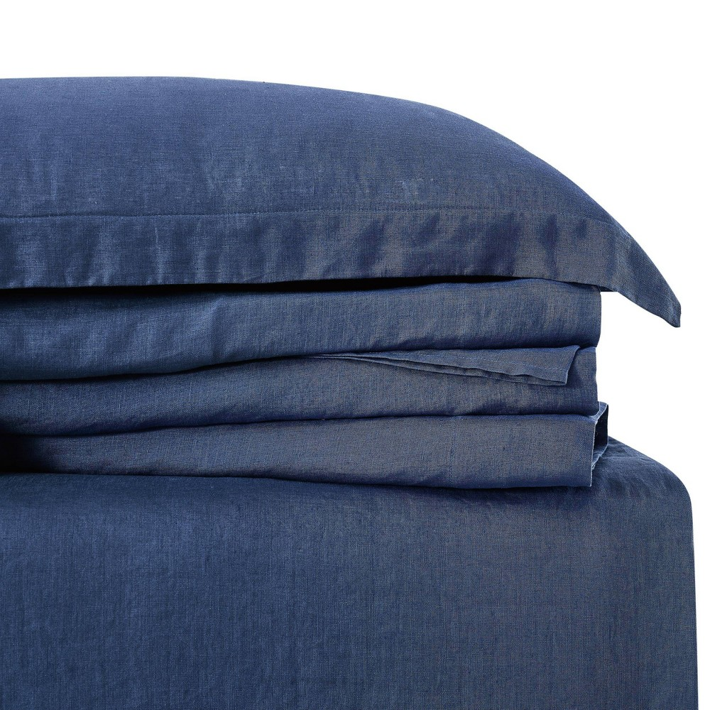 Image of California King 300 Thread Count Linen Solid Sheet Set Navy - Brooklyn Loom, Blue