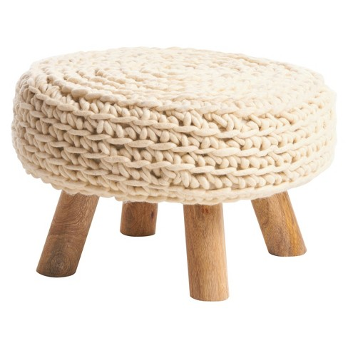 Darrow Cord Ottoman - White - Christopher Knight Home - image 1 of 4
