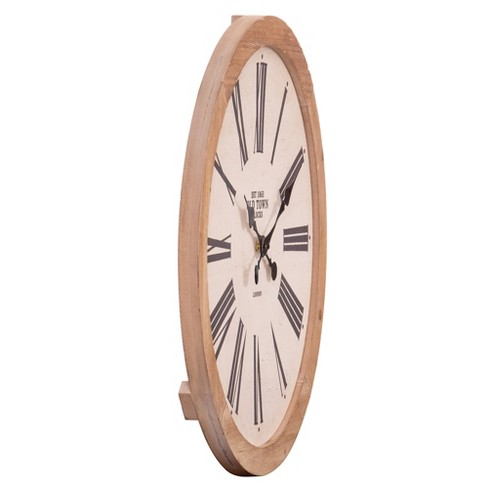 22 Rustic Wood Old Town Roman Numeral Wall Clock Target
