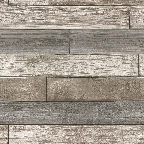 Nuwallpaper Reclaimed Wood Plank Natural Peel Stick Wallpaper Gray Target