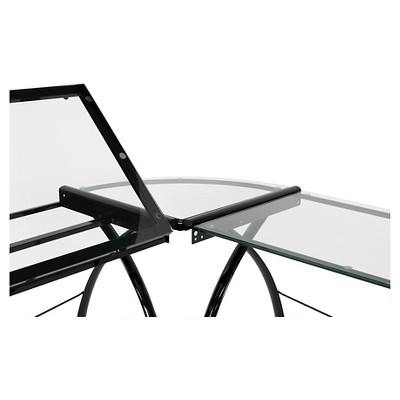 Futura L-Shaped Desk with Adjustable Top - Black/Clear Glass