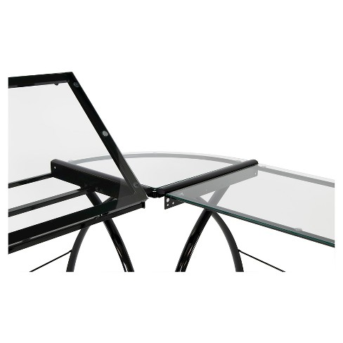 Futura L-Shaped Desk with Adjustable Top - Black/Clear Glass - image 1 of 6