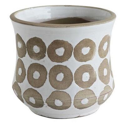 "Glazed Terracotta Planter Pot (7.5"") White - 3R Studios"