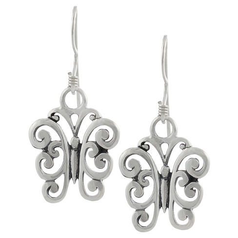 Women's Journee Collection Sterling Silver Swirled Butterfly Dangle Earrings - Silver - image 1 of 2