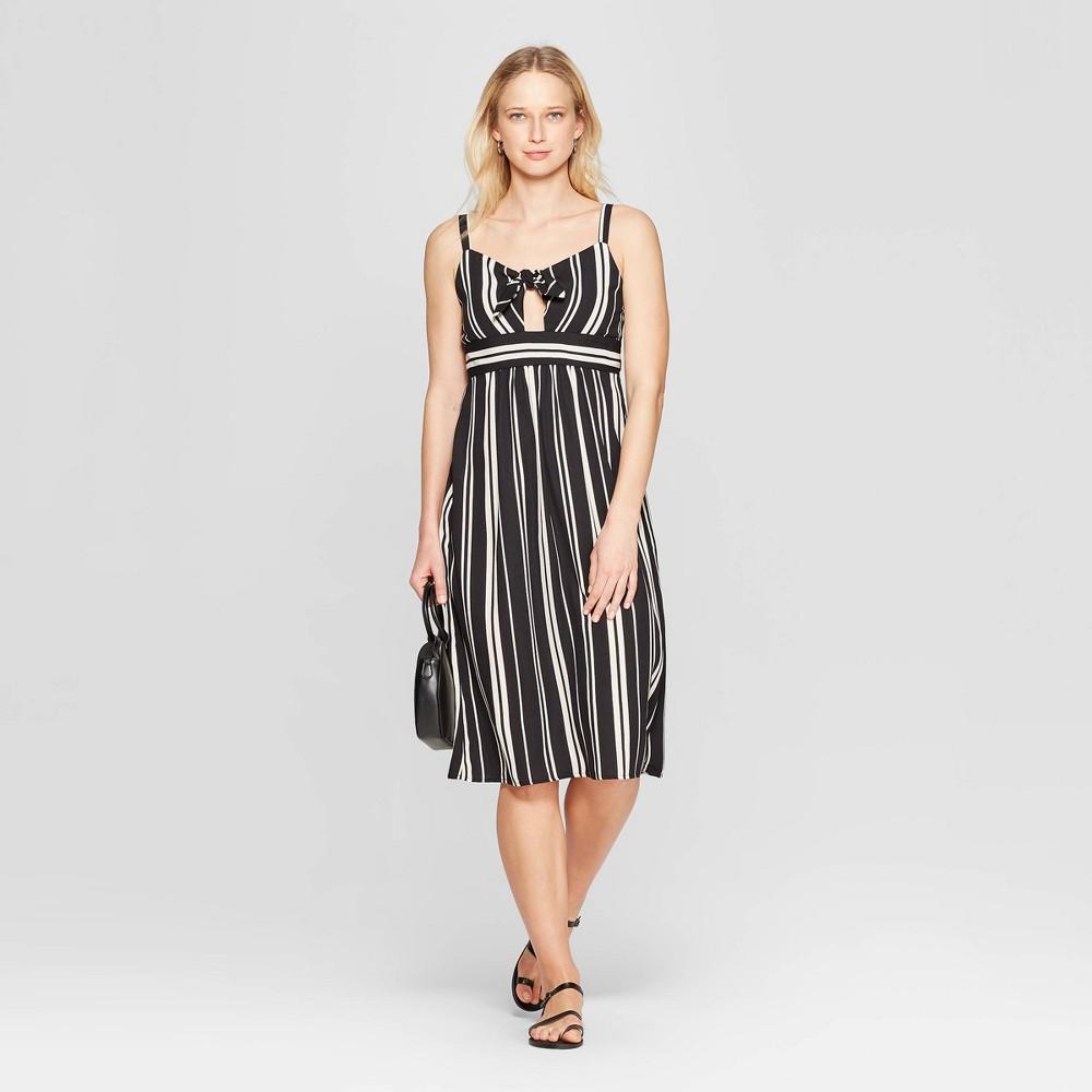 Women's Striped Sweetheart Neckline Front Tie Midi Dress - Xhilaration Black/Ivory Xxl, Gray