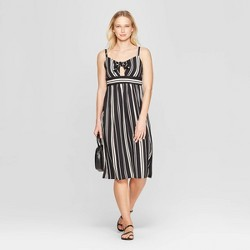 8fa7d154234 Women s Striped Sweetheart Neckline Front Tie Midi Dress - Xhilaration™  Black Ivory