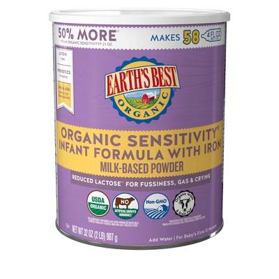 Earth's Best Organic Sensitivity Infant Formula with Iron Powder - 32oz
