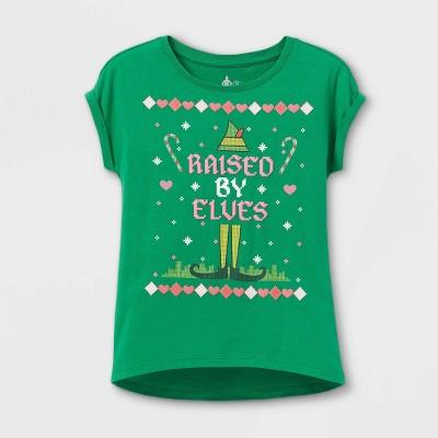 Girls' Elf Raised By Elves Short Sleeve Graphic T-Shirt - Green
