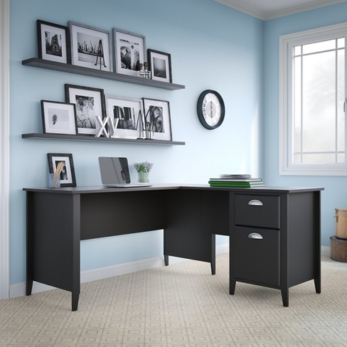 Kathy Ireland Office Connecticut Desk In Black Suede Oak Bush