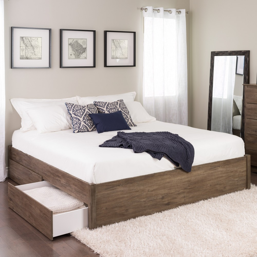 King Select 4 - Post Platform Bed with 2 Drawers Drifted Gray - Prepac