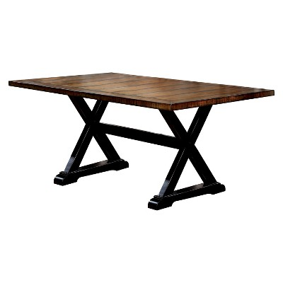 Sun & Pine Carey Plank Style Dining Table - Antique Oak and Black
