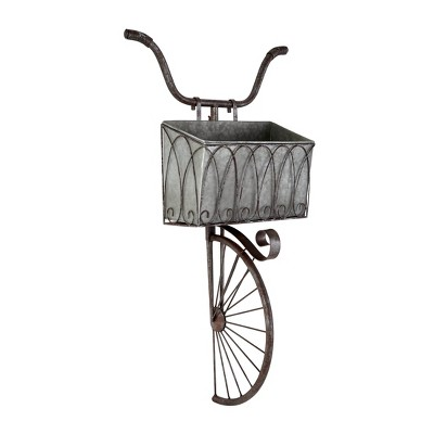 "37.5"" Vintage Galvanized Steel Wall Tricycle Planter Gray - Olivia & May"