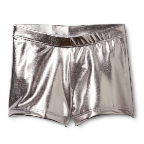 Danz N Motion&#174 by Danshuz&#174 Girls' Activewear Shorts Silver L - image 1 of 1