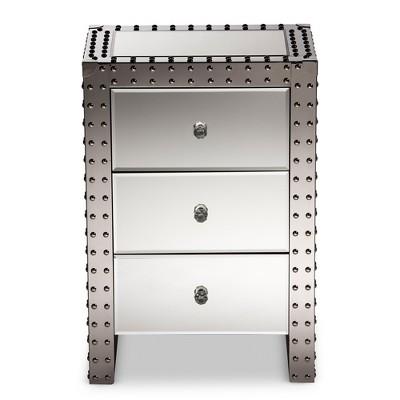 Azura Nightstand Bedside Table Silver - Baxton Studio