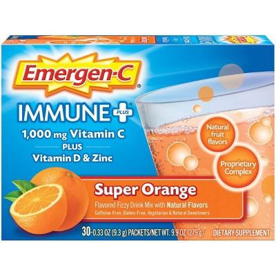 Emergen-C Immune+ Dietary Supplement Powder Drink Mix with Vitamin C - Super Orange - 30ct