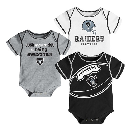 Oakland Raiders Baby Boys' Awesome Football Fan 3pk Bodysuit Set - 0-3 M - image 1 of 4