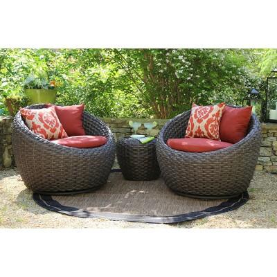 Corona 3 Piece Wicker Conversation Patio Furniture Set