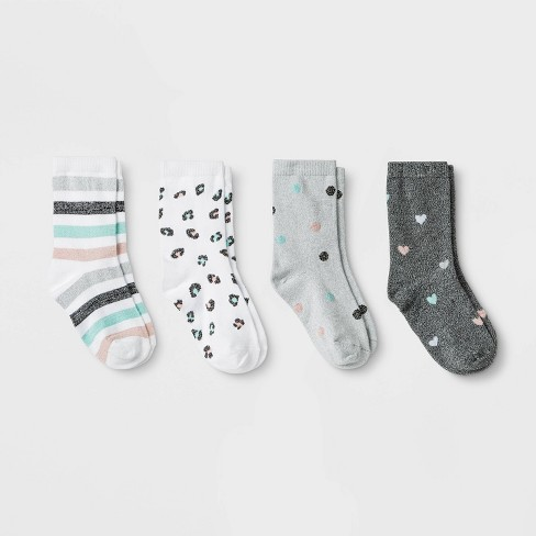 Girls' 4pk Super Soft Metallic Marled Crew Socks - Cat & Jack™ White - image 1 of 1