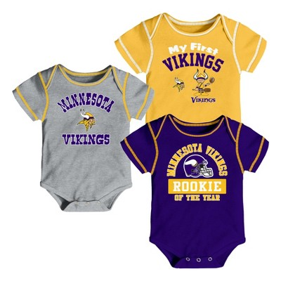 Minnesota Vikings Boys' Newest Fan 3pk Bodysuit Set 0-3 M