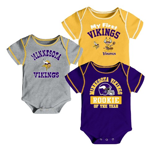 fef8c508f Minnesota Vikings Boys  Newest Fan 3pk Bodysuit Set 3-6M   Target
