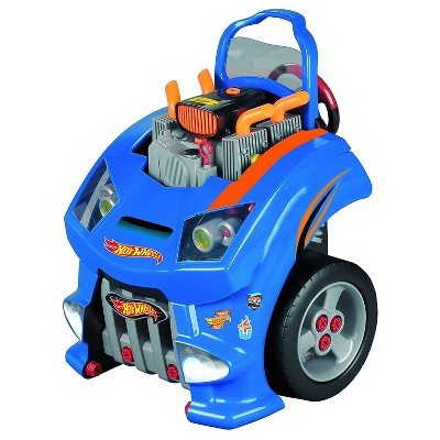 Theo Klein Hot Wheels Lifelike Auto Service Car Engine Repair Interactive Toy Pretend Play Set with Mechanic Tools, Blue