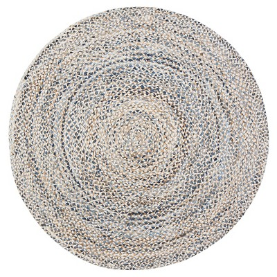 Denim Blue Shapes Braided Round Area Rug 6' - Anji Mountain