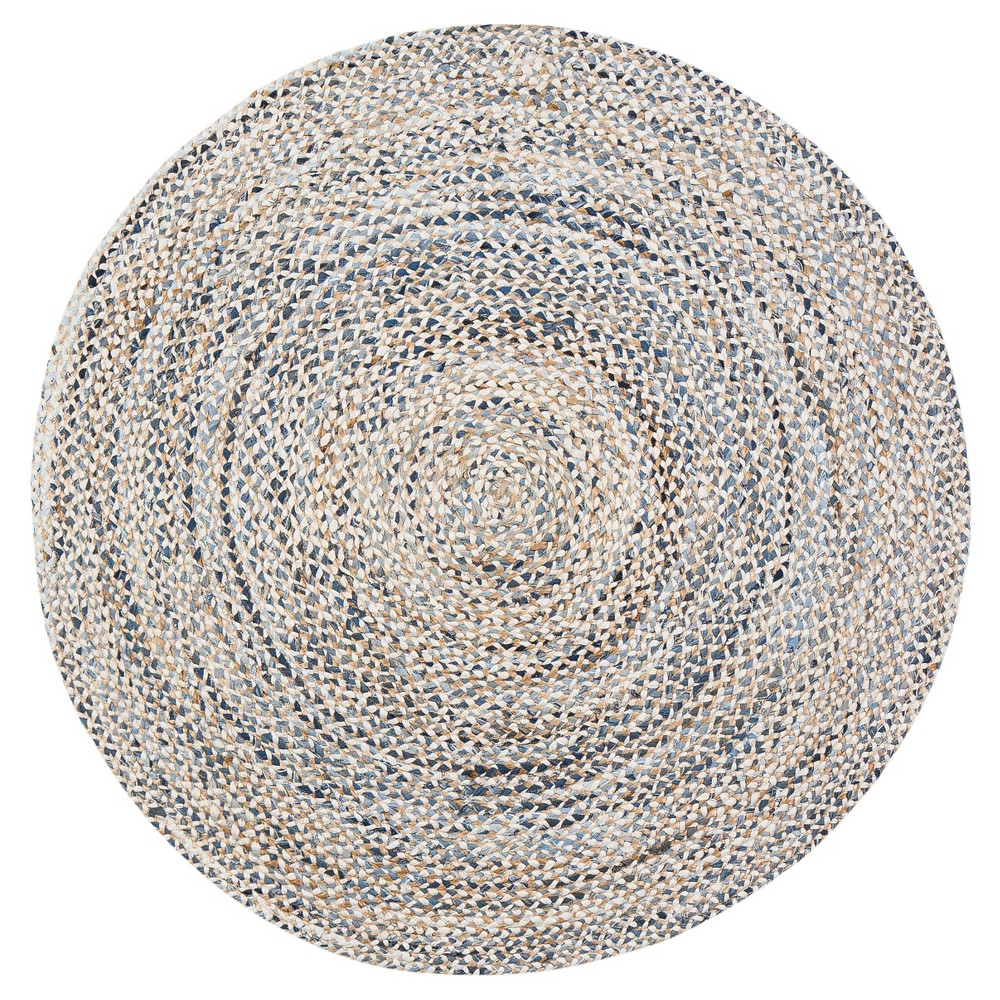 Denim Blue Shapes Braided Round Area Rug 8' - Anji Mountain