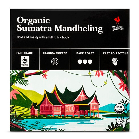 Organic Sumatra Mandheling Dark Roast Coffee - Single Serve Pods - 16ct - Archer Farms™ - image 1 of 4