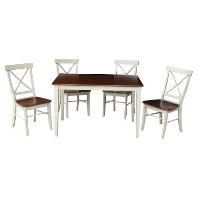 5 Piece Dining Set 30 x 48 Dining Table Wood/Antiqued Almond & Espresso - International Concepts