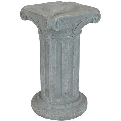 """Sunnydaze Roman Pedestal Indoor/Outdoor Column-Style Gazing Globe Stand for 10 to 12-Inch Garden Spheres - 16"""" H - Travertine"""