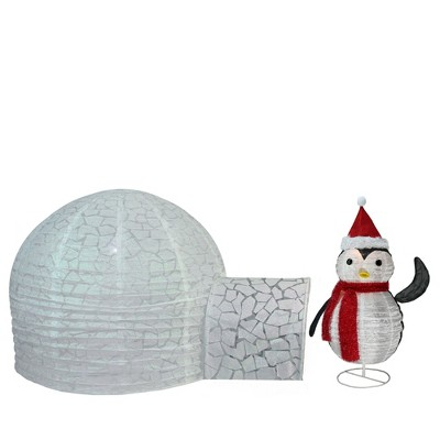 4PC TABLETOP IGLOO AND PENGUINS DECORATION SET Xmas Party Table Decorations
