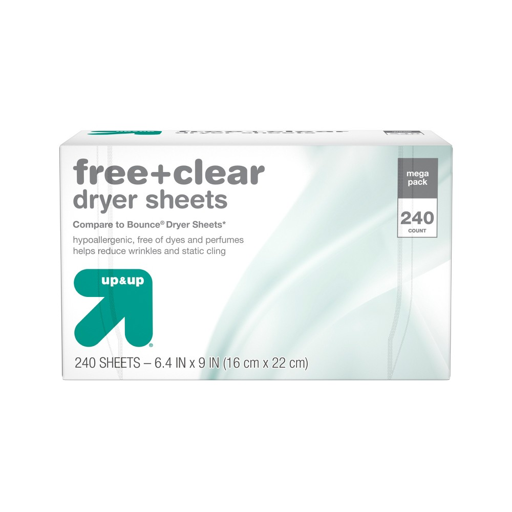 Up&Up Free & Clear Fabric Softener Dryer Sheets - 240ct (Compare to Bounce Dryer Sheets) up and up Free + Clear fabric softener dryer sheets help reduce wrinkles and static cling while keeping lint and hair out of your clothes. Free of dyes and perfumes, up and up Free + Clear dryer sheets soften fabrics and are ideal for sensitive skin. Simply place these hypoallergenic fabric softener dryer sheets on top of wet clothes before starting your dryer to help reduce static cling and wrinkles. Compare up and up fabric softener dryer sheets with Bounce dryer sheets. 100 percent satisfaction guaranteed or your money back. This package includes one box of 240 up and up Free + Clear fabric softener dryer sheets, enough for 240 loads. Size: 200 Count.