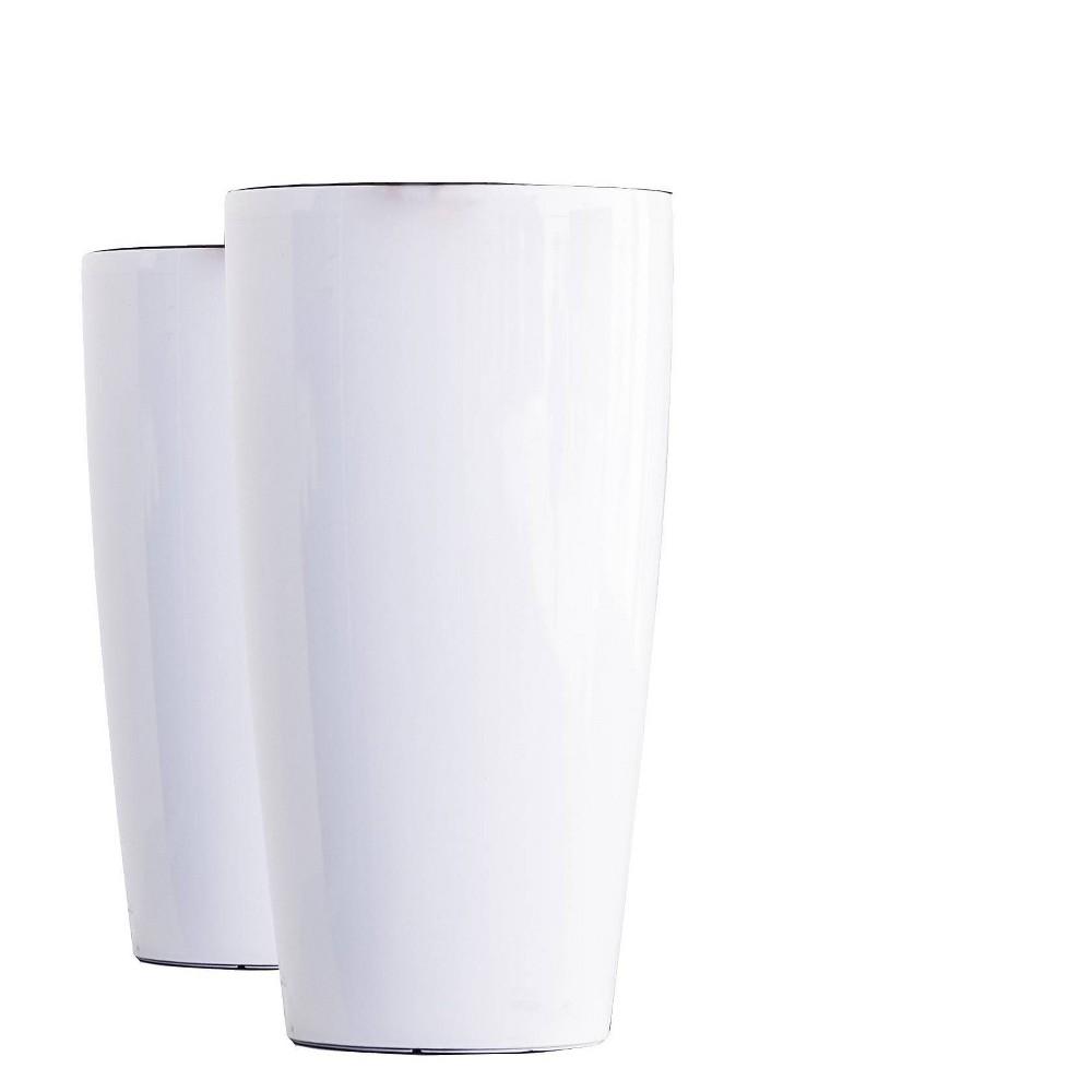 17 34 2pk Indoor Outdoor Plastic Nested Self Watering Planter Pot White Xbrand