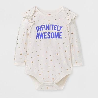 Baby Girls' Infinitely Awesome Bodysuit - Cat & Jack™ Cream 6-9 M